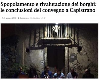 Spopolamento e rivalutazione dei borghi: le conclusioni del Convegno a Capistrano, Il Meridio, 5 Agosto 2018